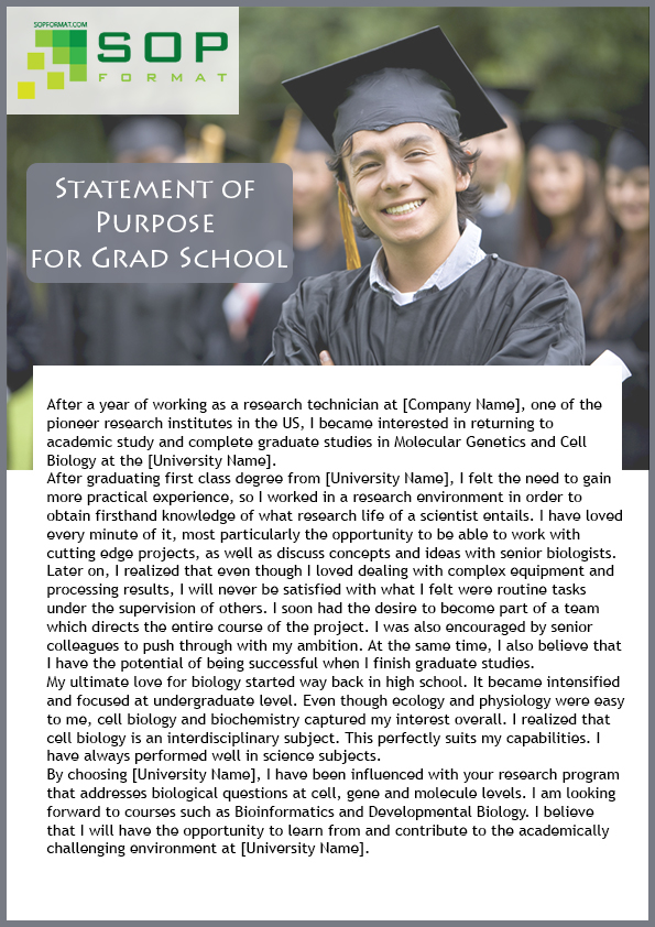 statement of purpose for grad school format