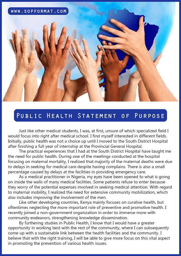 public health statement of purpose