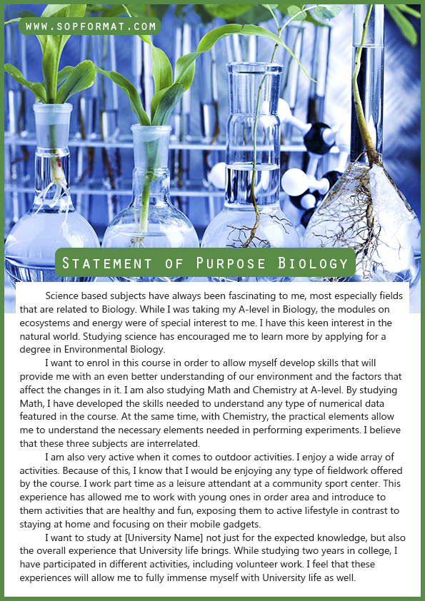 statement of purpose for biology Statementofpurposewritingcom can help you write a great statement of purpose biology is just one of the university disciplines in which we have expert writers.